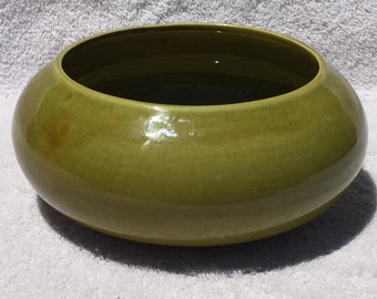 Green USA Bulb Style Bowl Marked C - 102 USA Pottery Bowl, Candy Dish, Planter.