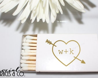 Heart Arrow Personalized Wedding Favor Matchbox • White Matchboxes • Hot Stamped Foil Social Graces & Company Party Paper Presents