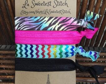 Over the Rainbow Print Hair Elastics/Bracelets