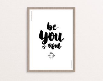 """Hand-lettering - Digital Printable - """"Be-YOU-tiful"""" - 8x10 / A4 - Instant Download"""