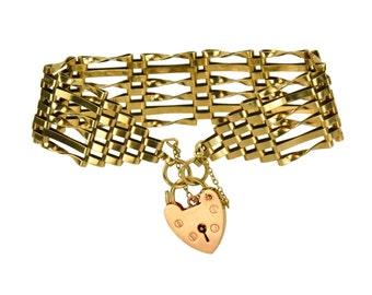 "Traditional Vintage 9K Solid Pink Gold Gate-Link ""Enduring Love"" Charm Bracelet with Heart-Padlock Clasp, England 1970s"