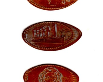 Set of 3 Titanic Pressed Pennies - Flat Souvenir Penny