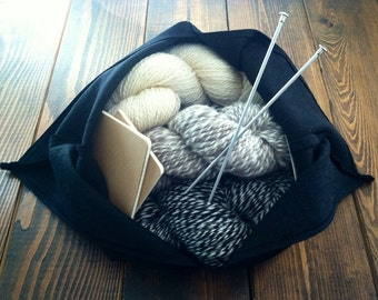 Black Hopsack Linen Bento Bag - Large