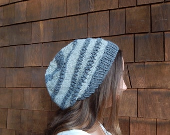 Merino Wool Hat~ Gray ~ Wool Hat ~ Two Tone Gray