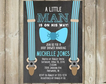 Little Man Baby Shower Invitation - Boys Baby Shower Invite - Suspenders & Tie - Chalkboard Background - DIGITAL FILE