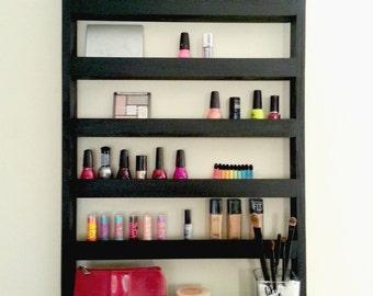 makeup organizer - makeup shelf - beauty station - nail polish shelf - makeup brush holder - cosmetics - ladies gift - Personalized gift