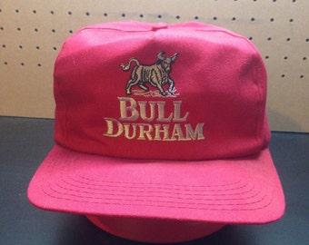Bull Durham Vintage Snapback Hat Cigarettes Tobacco Red Great Condition