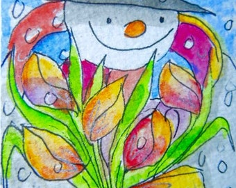 Original little watercolour painting aceo - Happy Anniversary.