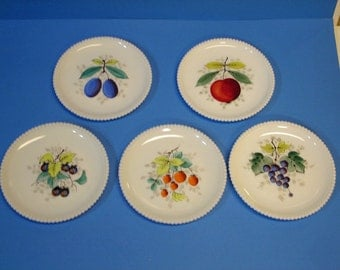 Milk Glass Hand painted Fruit Beaded Edge Plate Set of Five