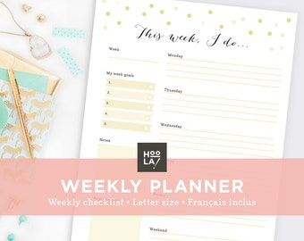 Printable Weekly Planner - To Do List - Printable organizer - Instant Download - Print at home