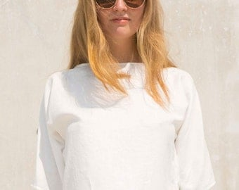 White Linen Blouse, Casual Blouse, White Top, Loose Fitting Blouse, Linen Top