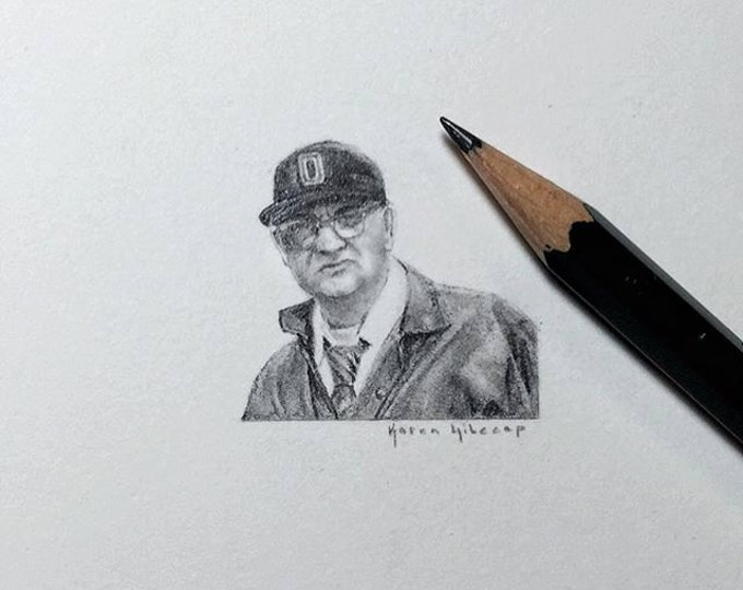 """Print of miniature painting of Woody Hayes. 1 1/4""""x1 1/4"""" print of original Woody Hayes painting on 5"""" square german etching paper"""