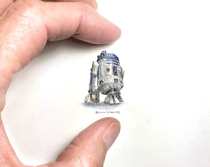 "Print of miniature painting of r2d2 star wars.  1 1/4"" x 1 1/4"" print of original star wars r2d2 painting on 5"" square german etching paper"