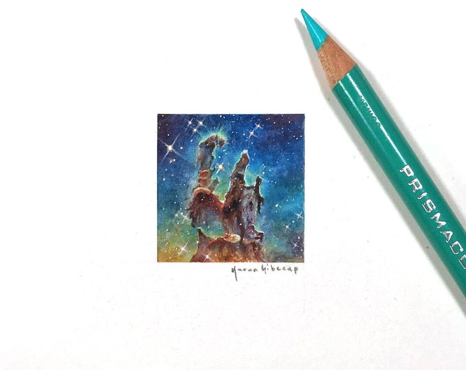 "Print of miniature painting of eagle nebula. 1 1/4"" x 1 1/4"" print of original pillars of creation painting on german etching paper"