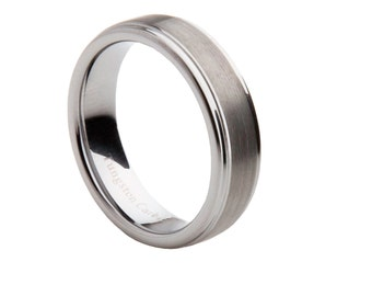 Mens Tungsten Carbide Brushed Center Wedding Band, SKU: 1019