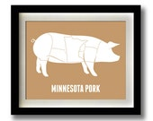 Minnesota Pork Meat Cut Print - 11x14""