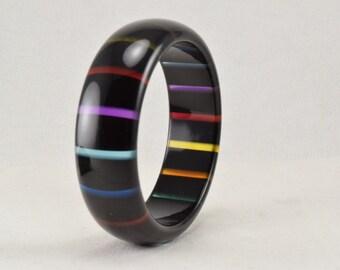 Rainbow bangle, black lucite bangle bracelet, striped bangle, 1960s vintage chunky bracelet, rainbow stripe bracelet