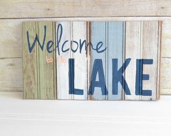 """Hand Painted Sign on Antique Bead Board - """"Welcome to the LAKE"""""""