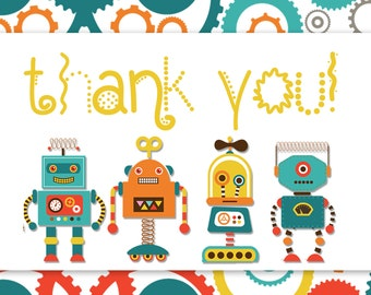 Robot Baby Shower Invitation // Matching Thank You Card