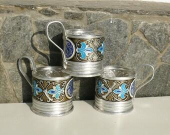 Set of three metal beautiful color (podstakan) tea cup-holders USSR - Russia, Tableware