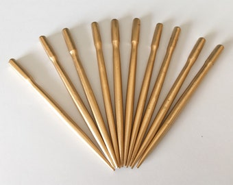Wood hair sticks small 4 1/2 inch round gold 10 pcs.