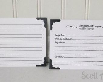 Recipe Cards, 4x6, perfect add-on for any 4x6 recipe box, 40 cards per pack