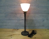 """Desk Lamp w/ Milk Glass Shade and Repurposed Lifting Weight - 22"""" Tall - Iron Pipe - Salvaged Glass Shade"""