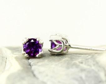 Genuine Natural Amethyst 4mm or 5mm Stud Earrings in 925 Sterling Silver Studs, Natural Gemstone earrings, February Birthstone