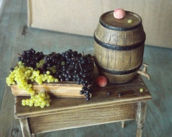tiny miniature grapes in 12th scale for dollhouse , miniature handmade pine table , country style