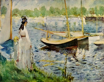 "Claude Monet ""Seine Near Argenteuil"" 1874 Reproduction Print Paris Woman Boy Standing on Shore Sail Boats"