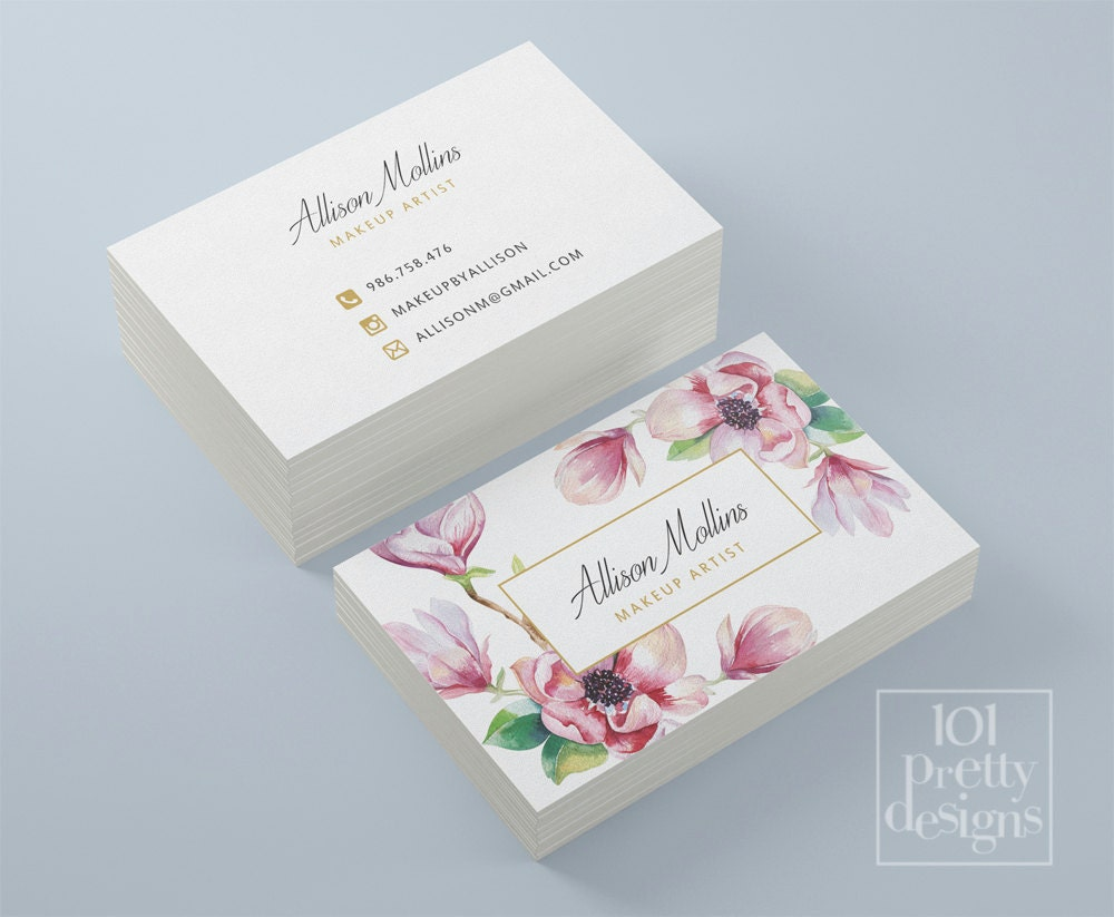 Floral business card design flowers business card template for Flower business cards