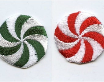Christmas - Peppermint Candy - Red or Green - Iron on Applique - Embroidered Patch - 659306