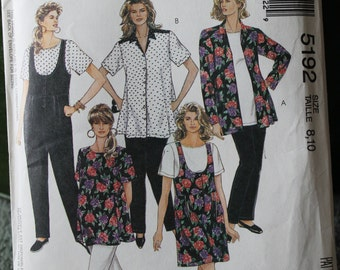 McCall's 1980s Jumpsuit or Romper, Blouse, Top, and Pants sz 8 10 Maternity Pattern