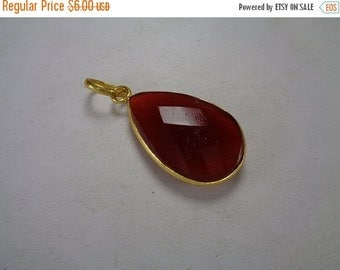 10% Off Natural Carnelian Pendant, Faceted Gemstone Gold Pendant