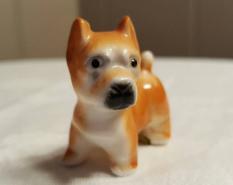 Cute Vintage Orange Brown Puppy Dog Figurine, Bone China Kitsch Dog Figure