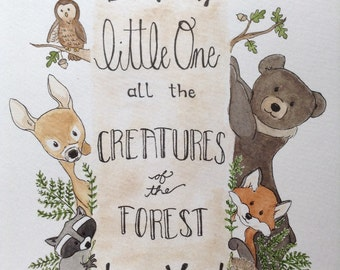 Woodland Creatures Nursery Art Painting
