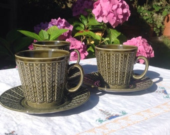Tams cups and saucers. Wheat design