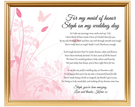 Gifts For Your Bride On Her Wedding Day: Gift For Maid Of Honor Gift To Chief Bridesmaid