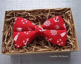 Men's bow tie, boys' bow tie, red nautical bow tie