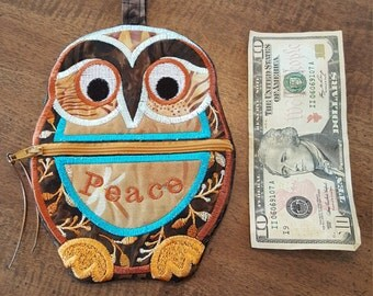 Owl coin purse, Owl pouch, Owl bag, shipping free within US