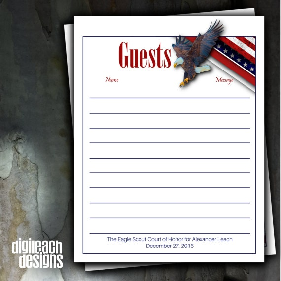 Eagle Scout Court Of Honor Guest Book Page Eagle Landing