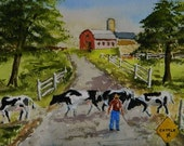 COW PAINTING   Cattle Crossing, Farm Painting , Maine Art, Red Barn,  Americana