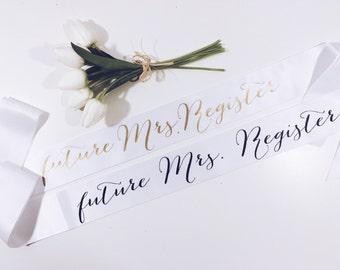 Bride sash. Last name sash. Bachelorette sash. Bridal shower sash. bride gift. bachelorette party gift