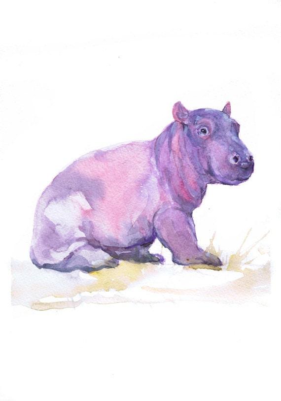 Baby Hippo Art Watercolor Painting Baby Girl Nursery Decor