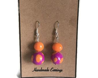 Beaded dangle earrings, Purple and Orange Drop earrings,Polymer clay earrings