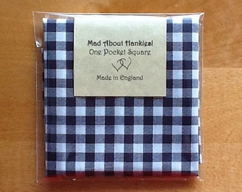 Pocket Square, Handkerchief, Hankie, Navy Check Cotton, Men's Handkerchief