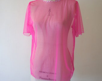 Pink Net with Sequins around the Neck and Sleeves