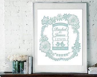 Wedding Anniversary Gift Print - Parents Anniversary Gift - Personalized Anniversary paper cut Print digital download #009