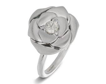 Flower Engagement Ring, Engagement Ring, Anniversary Ring, Floral Ring, Statement Ring, Promise Ring, Engagement Band, Rose Engagement Ring