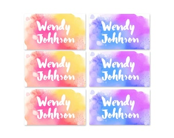 95ct Stick On Clothing Name Labels, Peel and Stick Clothing Labels, Personalized Uniform Labels - Water Color Paint Labels, Washable Labels